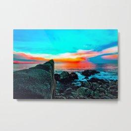 beach summer sunset with blue cloudy sky Metal Print