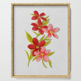Red floral sprigs  Serving Tray