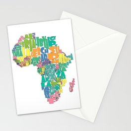 African Continent Cloud Map In Pastels Stationery Cards