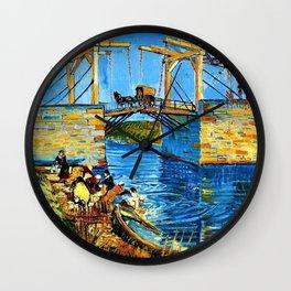The Langlois Bridge at Arles by Vincent van Gogh Wall Clock