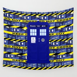 Tardis Yellow Line Wall Tapestry
