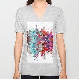Utopia mixed media city art Unisex V-Neck
