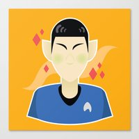 spock Canvas Prints featuring spock by monsternist