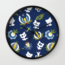 Cat with Ethnic Folk Flower Wall Clock