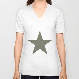 Olive green single star on white Unisex V-Neck
