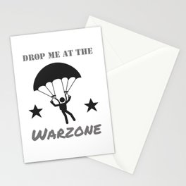 Gaming Warzone Parachute Skydive Gamer Stationery Cards