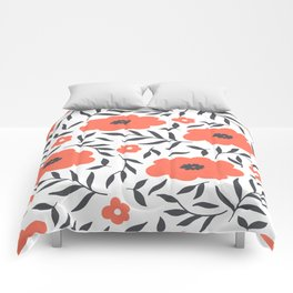 Red and Black Flowers Comforters