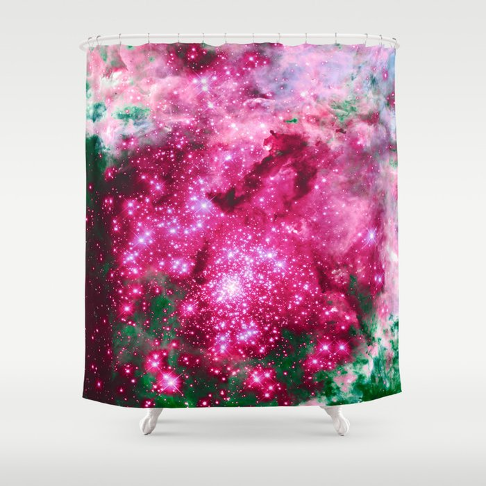 Pastel Crystal Pattern Shower Curtain Think Teal And