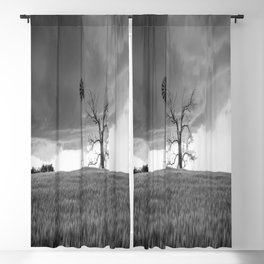 Blowing in the Wind - Black and White Windmill and Dead Tree with Storm in Oklahoma Blackout Curtain