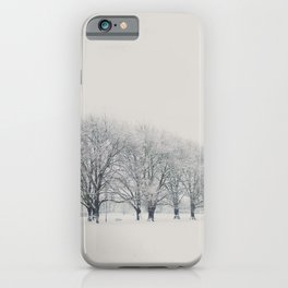a snow day in Cambridge iPhone Case