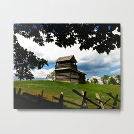 Cabin and Split Rail Fence Metal Print