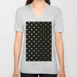 Gold polka dots on black pattern Unisex V-Neck