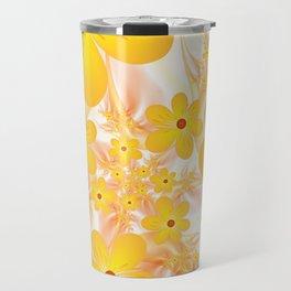 Yellow Flowers, Fractals Art Travel Mug