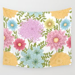 Painted Floral Pattern With Dahlias And Chrysanthemums Wall Tapestry