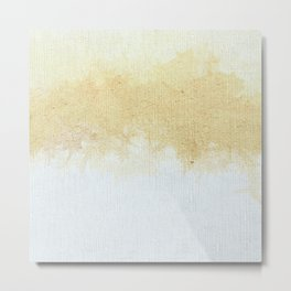 Textured Neutral white and Tan Abstract Metal Print