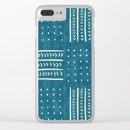 Mud Cloth Patchwork in Teal Clear iPhone Case
