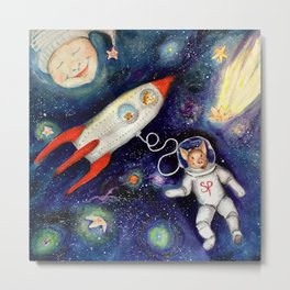 Ground Control to Super Pig Metal Print