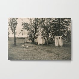 Outhouses and Swingset at the Church, North Dakota 2 Metal Print