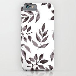 minimal watercolor leaves iPhone Case