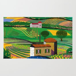 Farm House in fields Rug