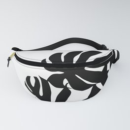 Monstera plant, black and white silhouette Fanny Pack