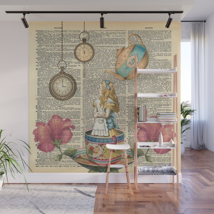 Its Always Tea Time Alice In Wonderland Wall Mural by