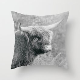 Highland Cattle Bull Photo   Animal Photography   Scottish Highlander black and white  Throw Pillow