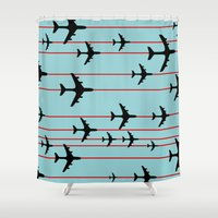 planes Shower Curtains featuring Planes by Frances Roughton