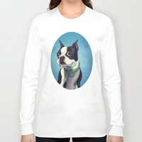 terrier Long Sleeve T-shirts featuring Boston Terrier by Jackie Sullivan