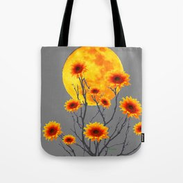 Red Gold Color Fantasy Sunflowers  Flowers Moon  Art Tote Bag