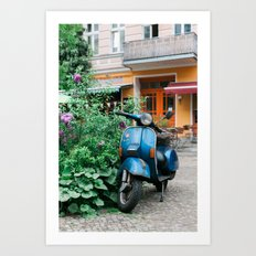 Vintage Blue Vespa Scooter Art Print