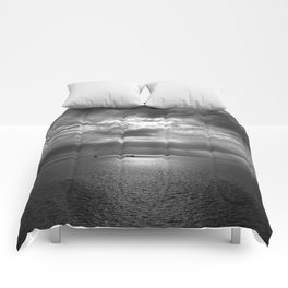Cloudscape in black and white Comforters