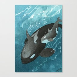 Mother & Baby Orca Canvas Print