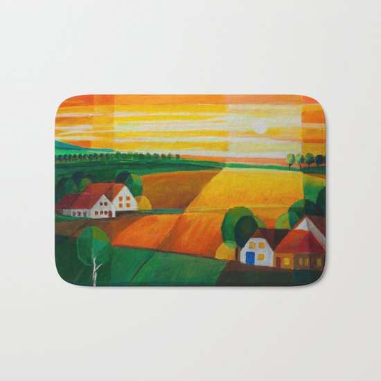 DoroT No 0181 – Summer Evening Over Village – Sommerabend über dem Dorf Bath Mat