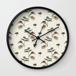 Two ladybugs, clover and pretty leaves Wall Clock