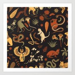 Egyptian house guardians   black Art Print