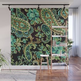 Brown Turquoise Paisley Wall Mural
