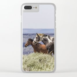South Steens Stallion with Mare and Foal Clear iPhone Case