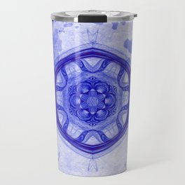 Blue wheel of fortune mandala Travel Mug