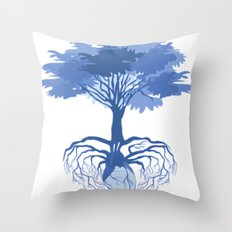 Heart Tree - Blue Throw Pillow