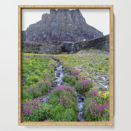 Mountain Wildflowers Lined Stream Serving Tray