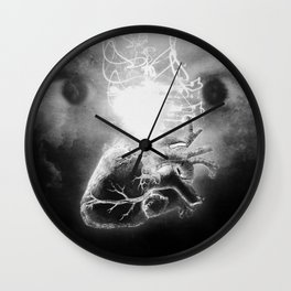 "black and white photography of eyes with anatomical heart and lights, illustration, collage, digital intervention ""I have no remedy"" Wall Clock"