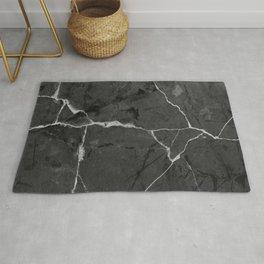 Black minimal marble Rug