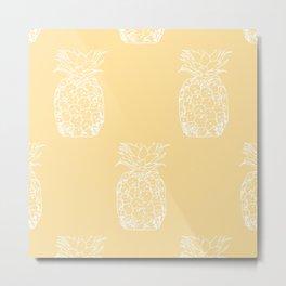 Petite Pineapple yellow Metal Print