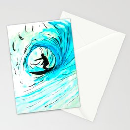 Lone Surfer Tubing the Big Blue Wave Stationery Cards