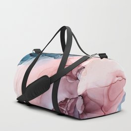 Pastel Plum, Deep Blue, Blush and Gold Abstract Painting Duffle Bag