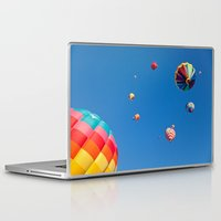 hot air balloons Laptop & iPad Skins featuring Vibrant Hot Air Balloons by Nicolas Raymond