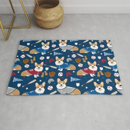 Corgi baseball themes sports dog fabric welsh corgis dog breeds gifts Rug