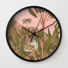 Cheetah in the Jungle Illustration  Wall Clock