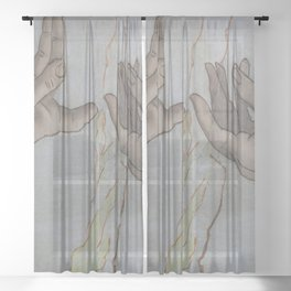 Touching Hands - Part of  Creation of Adam Sheer Curtain